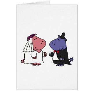 Dibujo animado divertido del boda de novia y del tarjeta de felicitación