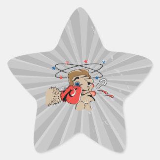 dibujo animado divertido del boxeo perforado en la colcomanias forma de estrella