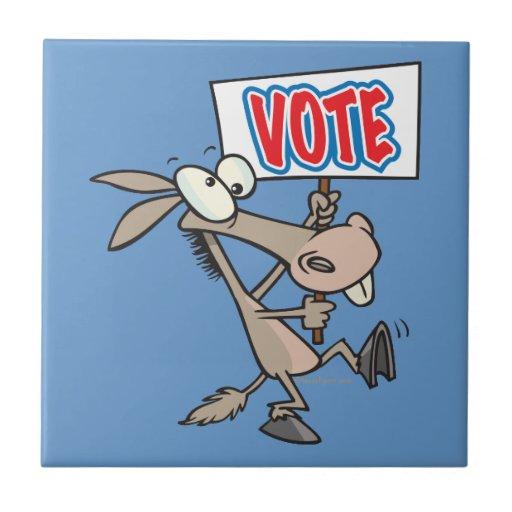 dibujo animado divertido del burro del demócrata d tejas  ceramicas