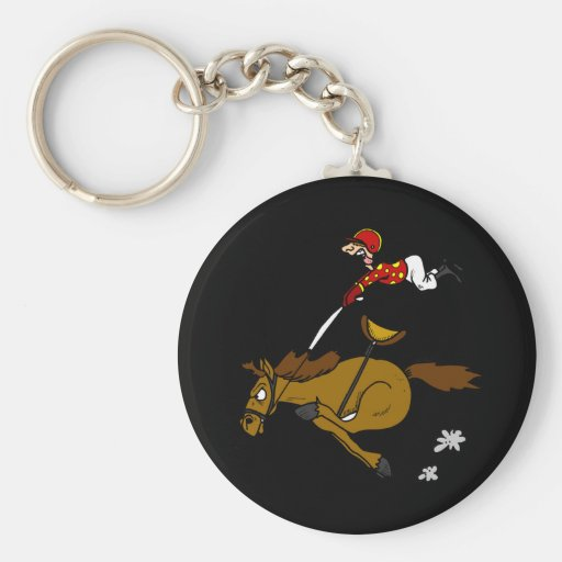 Dibujo animado divertido del caballo que compite llaveros personalizados
