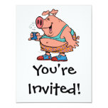 dibujo animado divertido del cerdo del cerdo del invitación 10,8 x 13,9 cm