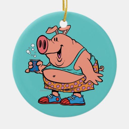 dibujo animado divertido del cerdo del cerdo del j adorno de reyes