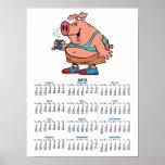 dibujo animado divertido del cerdo del cerdo del j poster