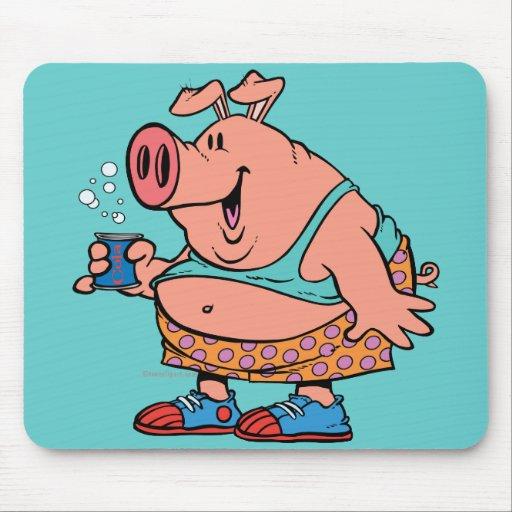 dibujo animado divertido del cerdo del cerdo del j alfombrillas de raton