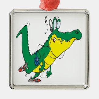 dibujo animado divertido del cocodrilo del cocodri ornamentos de navidad
