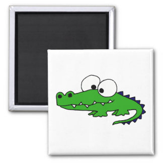 Dibujo animado divertido del cocodrilo imán cuadrado