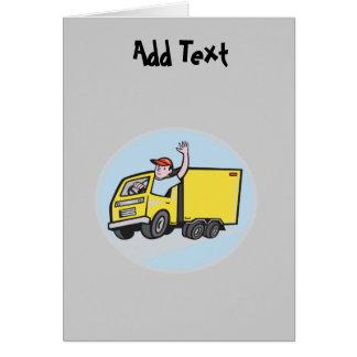 Dibujo animado divertido del conductor de camión tarjeta de felicitación