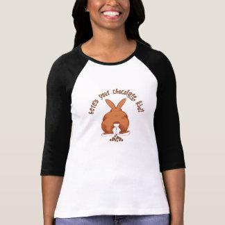 Dibujo animado divertido del conejito de pascua camisetas