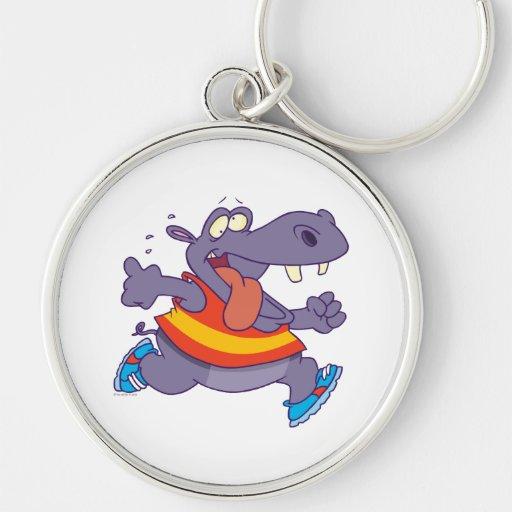 dibujo animado divertido del corredor del hipopóta llavero redondo plateado