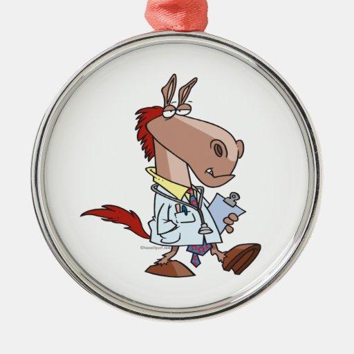 dibujo animado divertido del doctor del caballo ornamento de navidad