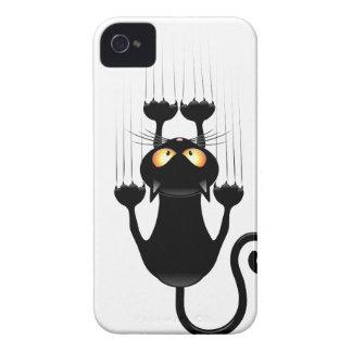 Dibujo animado divertido del gato negro que rasguñ Case-Mate iPhone 4 carcasas