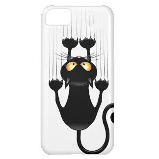 Dibujo animado divertido del gato negro que rasguñ