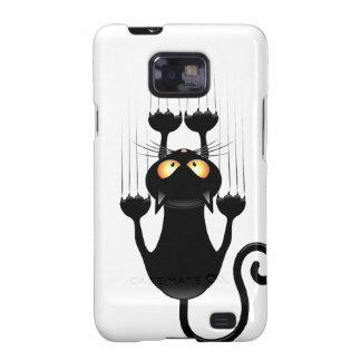 Dibujo animado divertido del gato negro que rasguñ galaxy SII carcasas