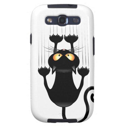 Dibujo animado divertido del gato negro que rasguñ samsung galaxy s3 carcasa