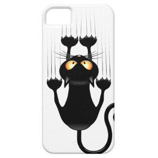 Dibujo animado divertido del gato negro que rasguñ iPhone 5 cárcasa