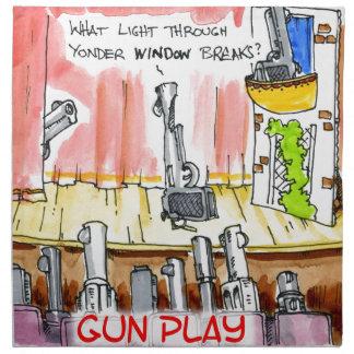 Dibujo animado divertido del GunPlay Servilletas De Papel