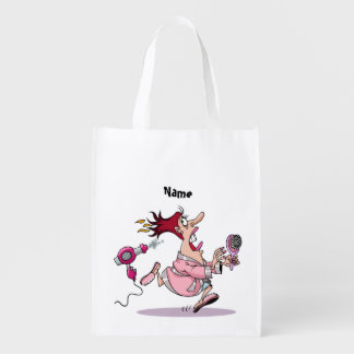 Dibujo animado divertido del hairstylist del bolsas reutilizables