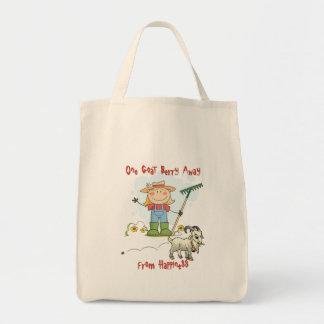 Dibujo animado divertido del impulso de la cabra bolsa tela para la compra