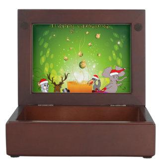 Dibujo animado divertido del navidad cajas de recuerdos