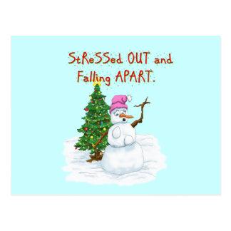 Dibujo animado divertido del navidad del muñeco de tarjetas postales