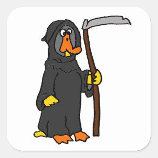 Dibujo animado divertido del parca del pato pegatina cuadrada