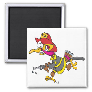 dibujo animado divertido del pavo del bombero imán cuadrado
