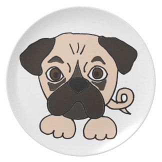 Dibujo animado divertido del perro de perrito del plato de cena