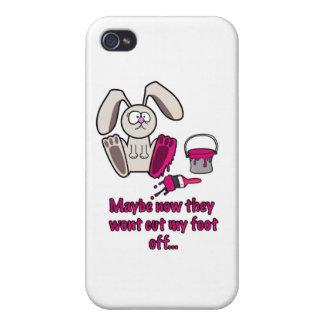 Dibujo animado divertido del pie de conejos iPhone 4/4S carcasas