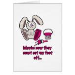 Dibujo animado divertido del pie de conejos felicitaciones