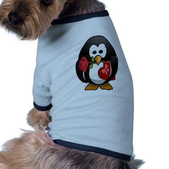 Dibujo animado divertido del pingüino lindo del el camiseta con mangas para perro