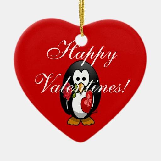 Dibujo animado divertido del pingüino lindo del el adorno de cerámica en forma de corazón