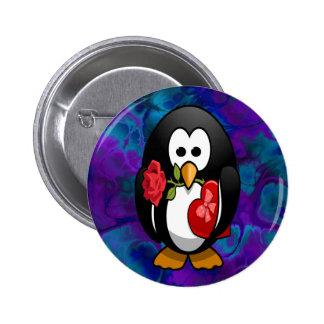 Dibujo animado divertido del pingüino lindo del el pin redondo de 2 pulgadas