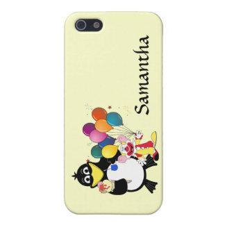 Dibujo animado divertido del pingüino y del payaso iPhone 5 fundas