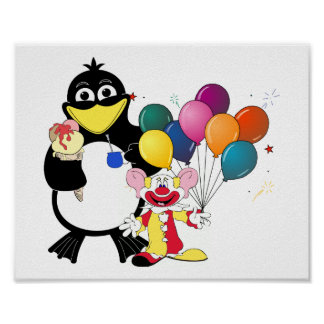 Dibujo animado divertido del pingüino y del payaso impresiones