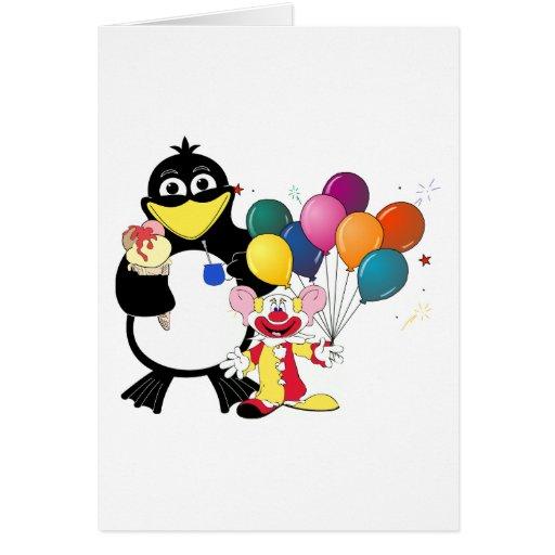 Dibujo animado divertido del pingüino y del payaso felicitacion