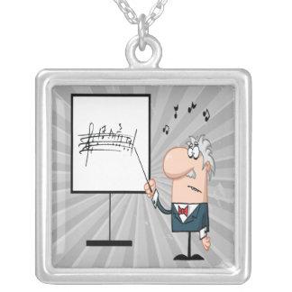dibujo animado divertido del profesor del profesor colgante cuadrado