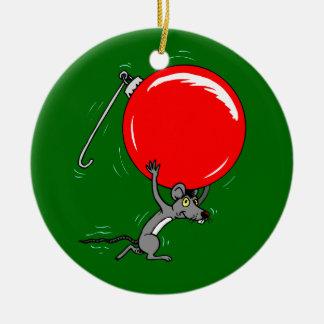 Dibujo animado divertido del ratón del navidad ornamento de navidad