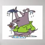 dibujo animado divertido del rinoceronte del día l poster