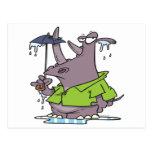 dibujo animado divertido del rinoceronte del día postal