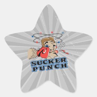 dibujo animado divertido del sacador de lechón del pegatina en forma de estrella
