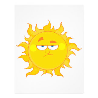 """dibujo animado divertido del sol que pone mala car folleto 8.5"""" x 11"""""""