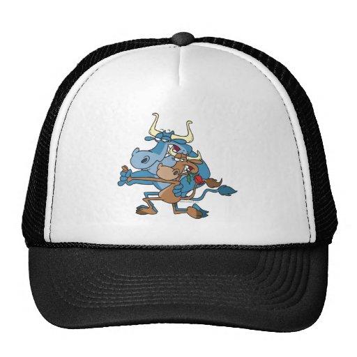 dibujo animado divertido del tango del toro de la  gorros