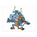 dibujo animado divertido del tango del toro de la  tarjeta postal