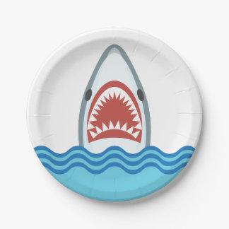 Dibujo animado divertido del tiburón plato de papel 17,78 cm