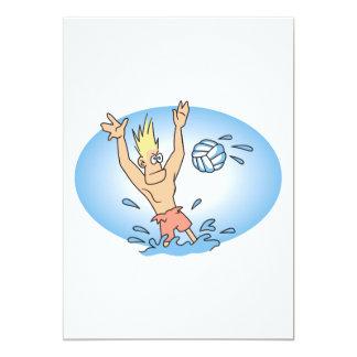 """dibujo animado divertido del tipo del waterpolo invitación 5"""" x 7"""""""