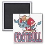 Dibujo animado divertido del toro del fútbol de Fo Imán Para Frigorifico
