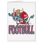 Dibujo animado divertido del toro del fútbol de Fo Tarjetón