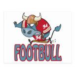 Dibujo animado divertido del toro del fútbol de postal
