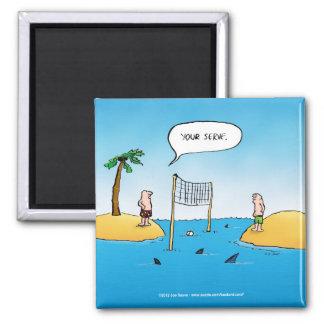 Dibujo animado divertido del voleibol del tiburón imanes para frigoríficos