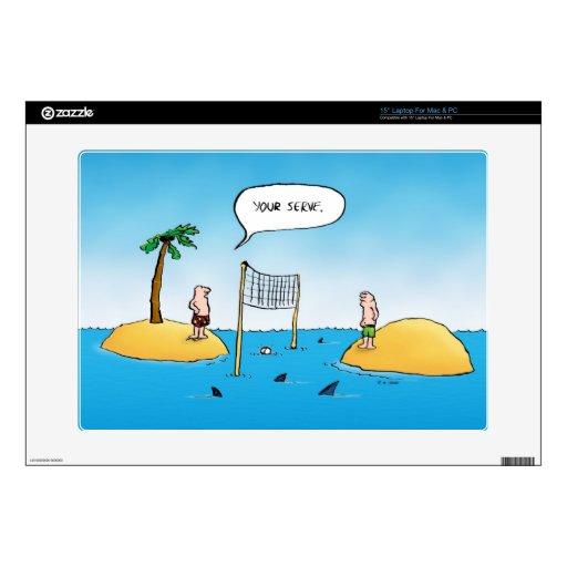 Dibujo animado divertido del voleibol del tiburón portátil calcomanía